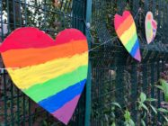 Primary school pupils put up a colourful display of Pride flags and hearts after their headteacher was the victim of a homophobic hate crime. (Twitter)