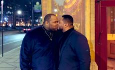 Tyler Hightower and his boyfriend Ahdeem Tinsley shared a kiss on their first anniversary, and it has Twitter users' hearts melting. (Twitter)