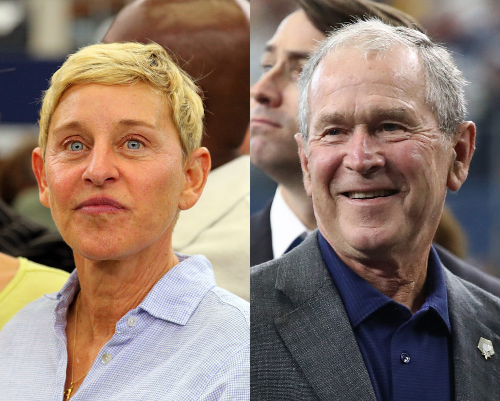 Ellen DeGeneres and George Bush