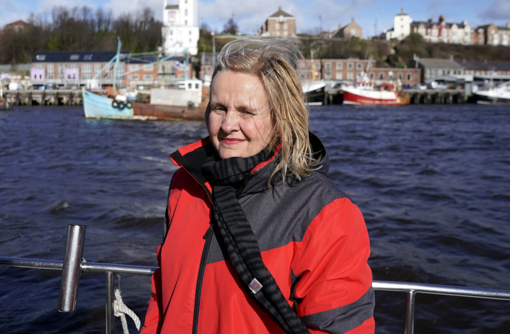 Catherine Blaiklock, leader of the Brexit Party, watches the Fishing For Leave flotilla on March 15, 2019