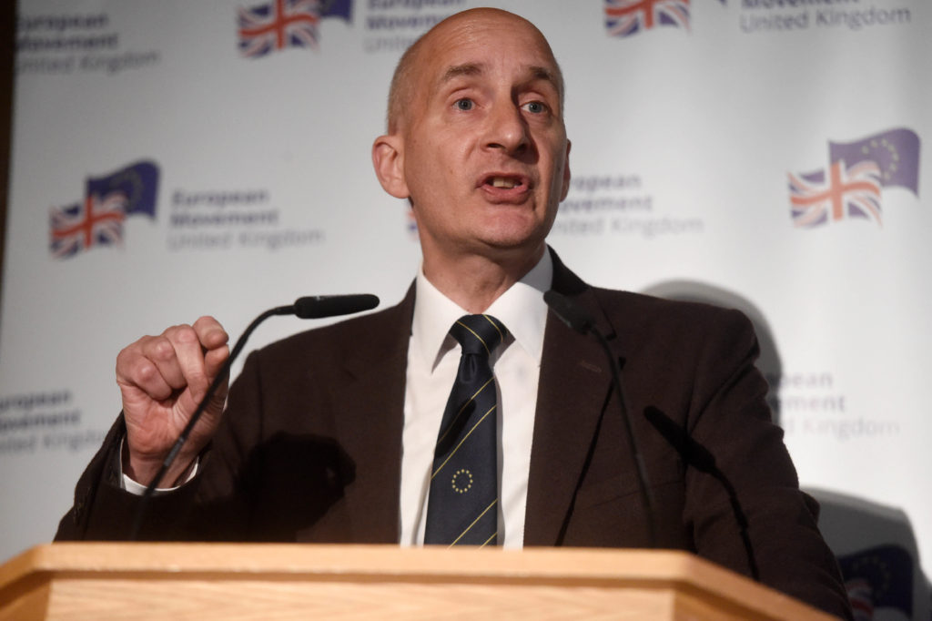 Lord Andrew Adonis speaks at a European Movement event on May 29, 2019 in London, England.