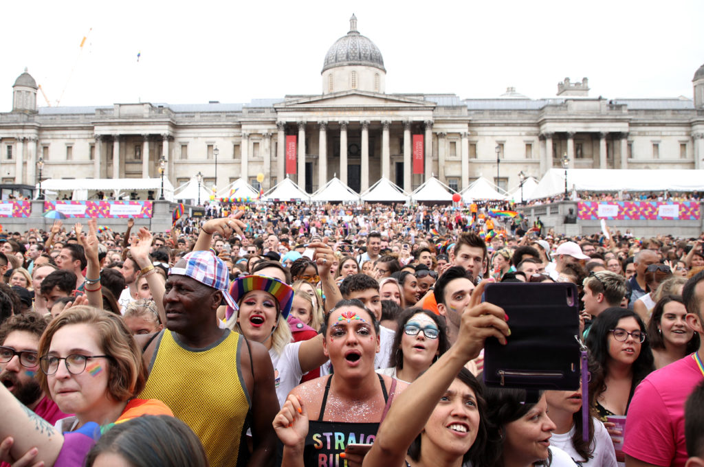 A general view of the crowd during Pride in London 2019 at Trafalgar Square on July 06, 2019 in London, England.