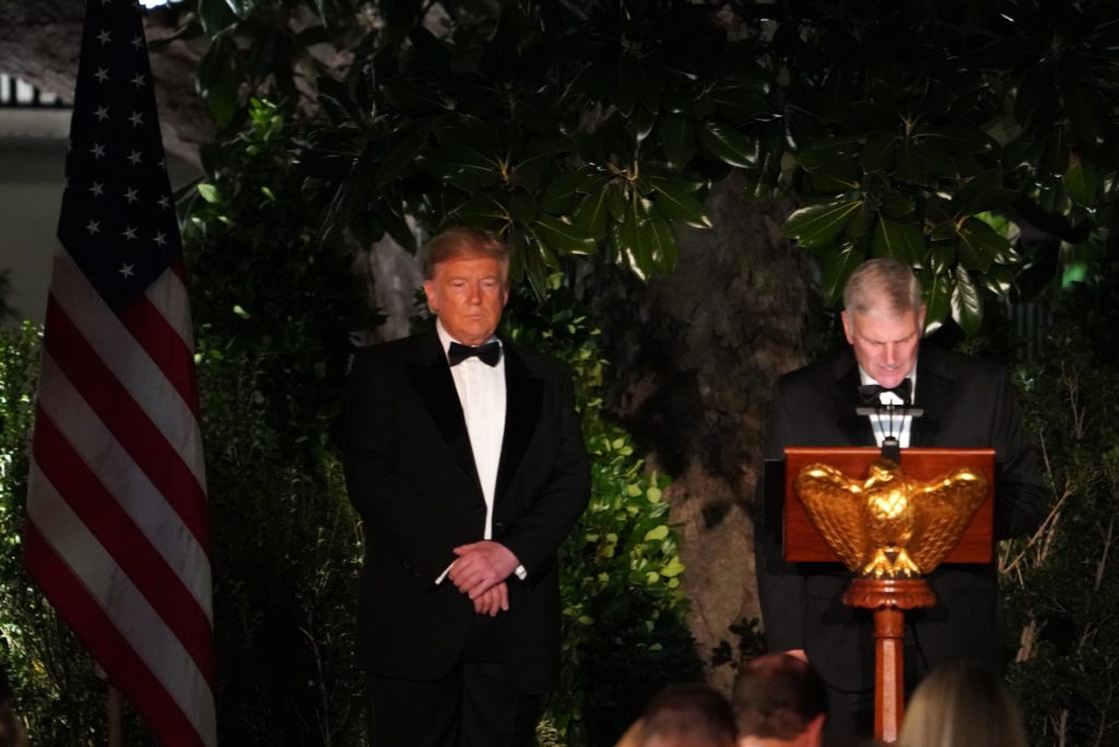 Reverend Franklin Graham gives a blessing as US President Donald Trump stands alongside during an Official Visit with a State Dinner for Australian Prime Minister Scott Morrison at the Rose Garden of the White House in Washington, DC, September 20, 2019.