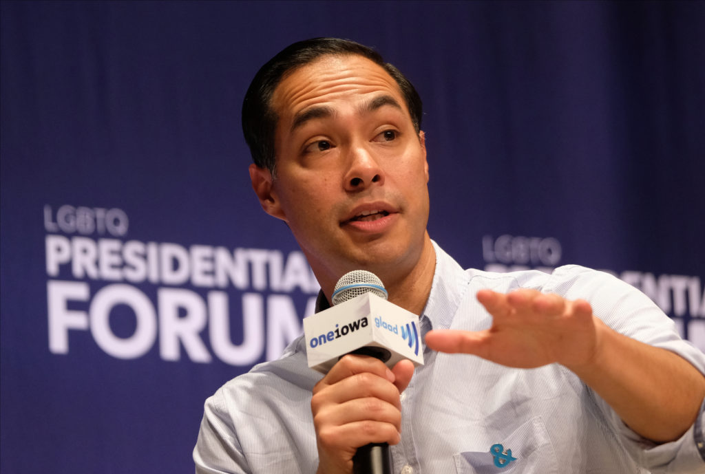 Democratic presidential candidate, former HUD Secretary Julián Castro speaks at the Presidential Candidate Forum on LGBTQ Issues on September 20, 2019