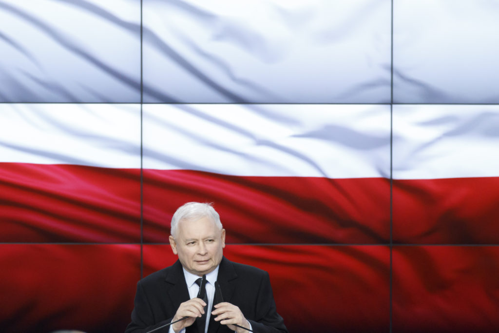 Leader of the PiS ruling party Jaroslaw Kaczynski speaks at the election night after first results showed his party won the elections with almost 43% support. (JP Black/LightRocket via Getty Images)