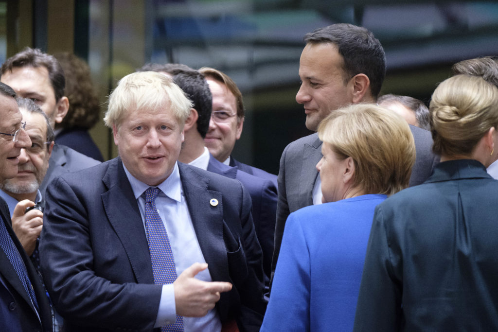 (Left to right) Cyprus President Nikos Anastasiadisn Prime Minister of the United Kingdom Boris Johnson, German Chancellor Angela Merkel, Irish Taoiseach Leo Varadkar and the Danish Prime Minister Mette Frederiksen at the start of an EU leaders summit. (Thierry Monasse/Getty Images)