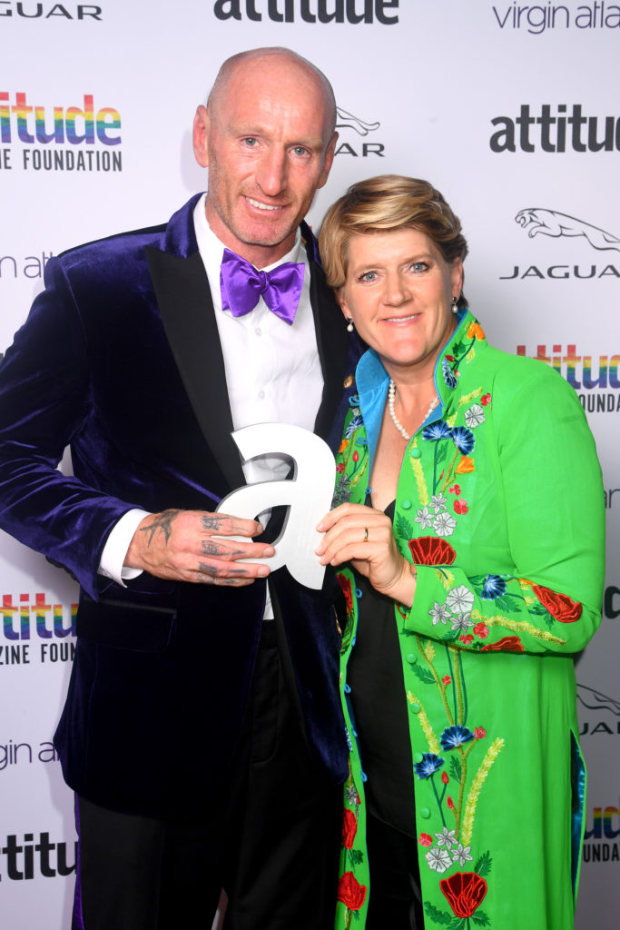 Gareth Thomas (L) poses with Clare Balding after winning the Game Changer award. (Dave J Hogan/Getty Images)