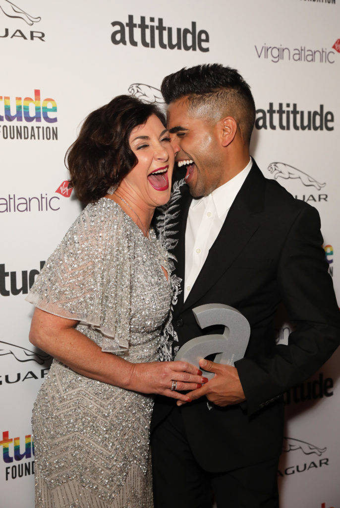 Shirley Ballas (L) and Dr. Ranj Singh winner of The Attitude Television award. (David M. Benett/Dave Benett/Getty Images)
