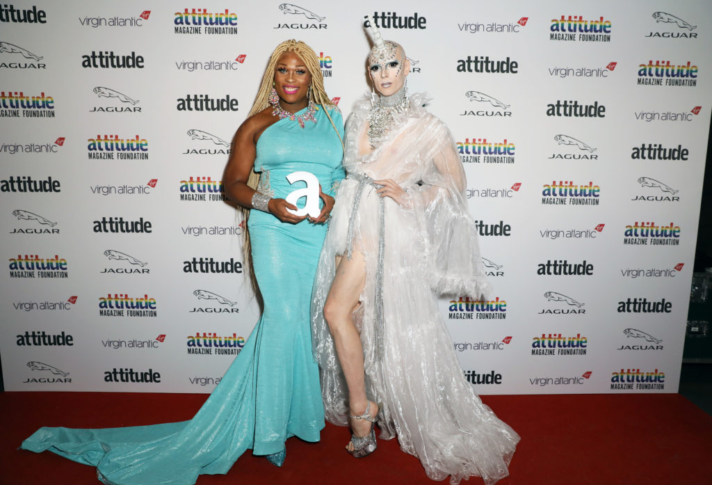 Peppermint (L) winner of The Attitude Inspiration award and Cheddar Gorgeous. (David M. Benett/Dave Benett/Getty Images)