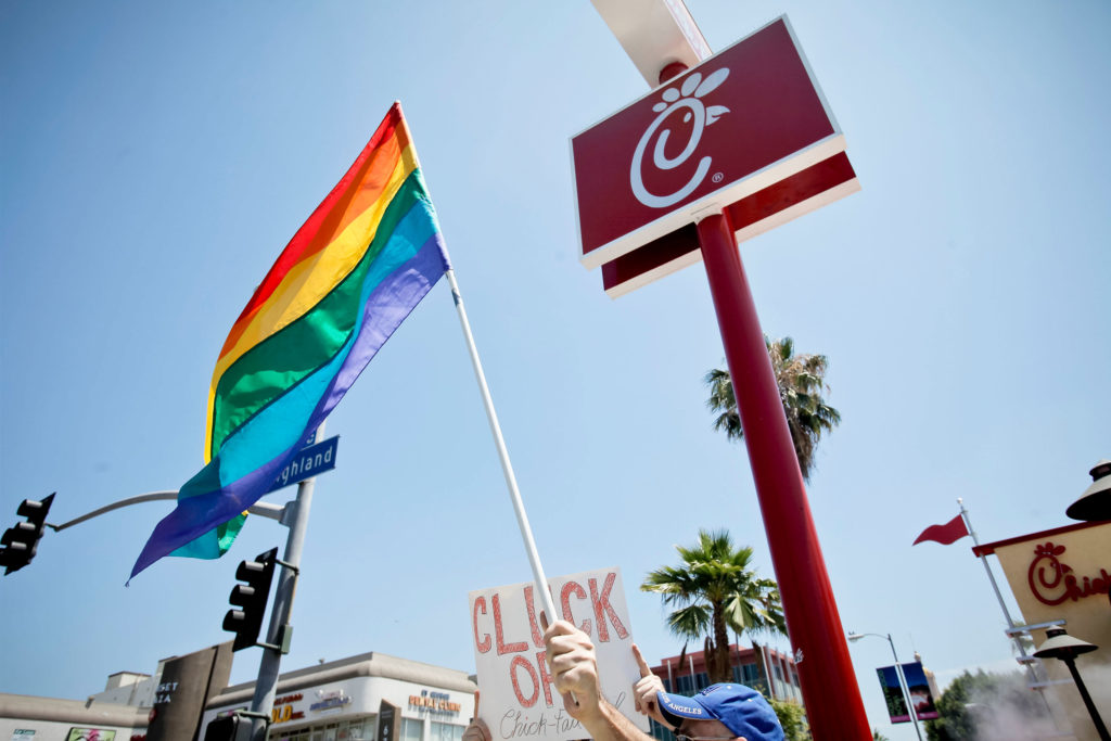 Chick-fil-A in the US has been a site of protest for many LGBT+ people. (Tibrina Hobson/FilmMagic)