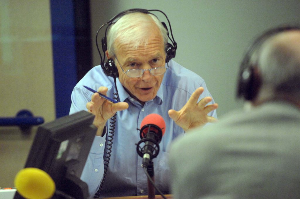 John Humphrys in the radio studio, during a broadcast of Today, the flagship programme on BBC Radio Four.