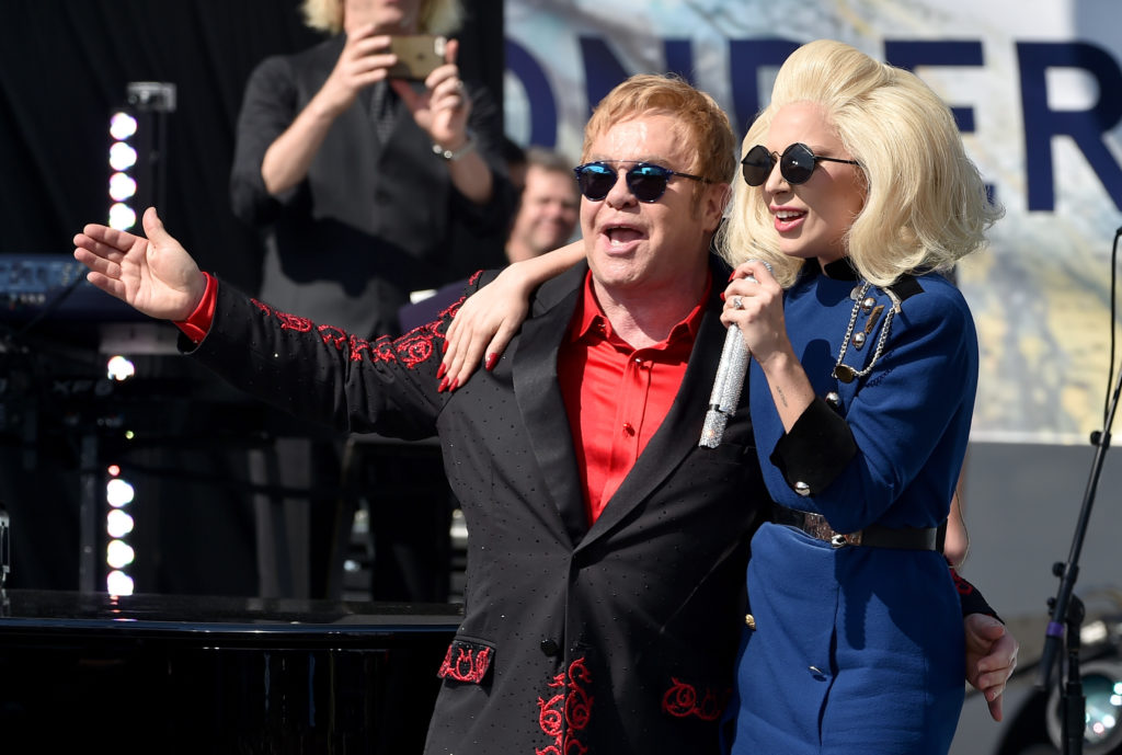 Elton John and Lady Gaga perform live on the Sunset Strip, on February 27, 2016