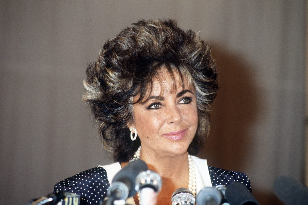 US actress Elizabeth Taylor attends an AIDS rally in 1985