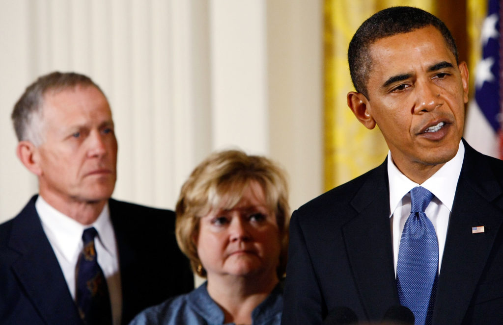 In 2008, President Barack Obama delivered remarks on the enactment of the Matthew Shepard and James Byrd, Jr. Hate Crimes Prevention Act, alongside Dennis Shepard and Judy Shepard.