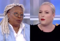 Whoopi Goldberg (L) was forced to diffuse co-host Meghan McCain on an episode of The View. (Screen captures via Twitter)