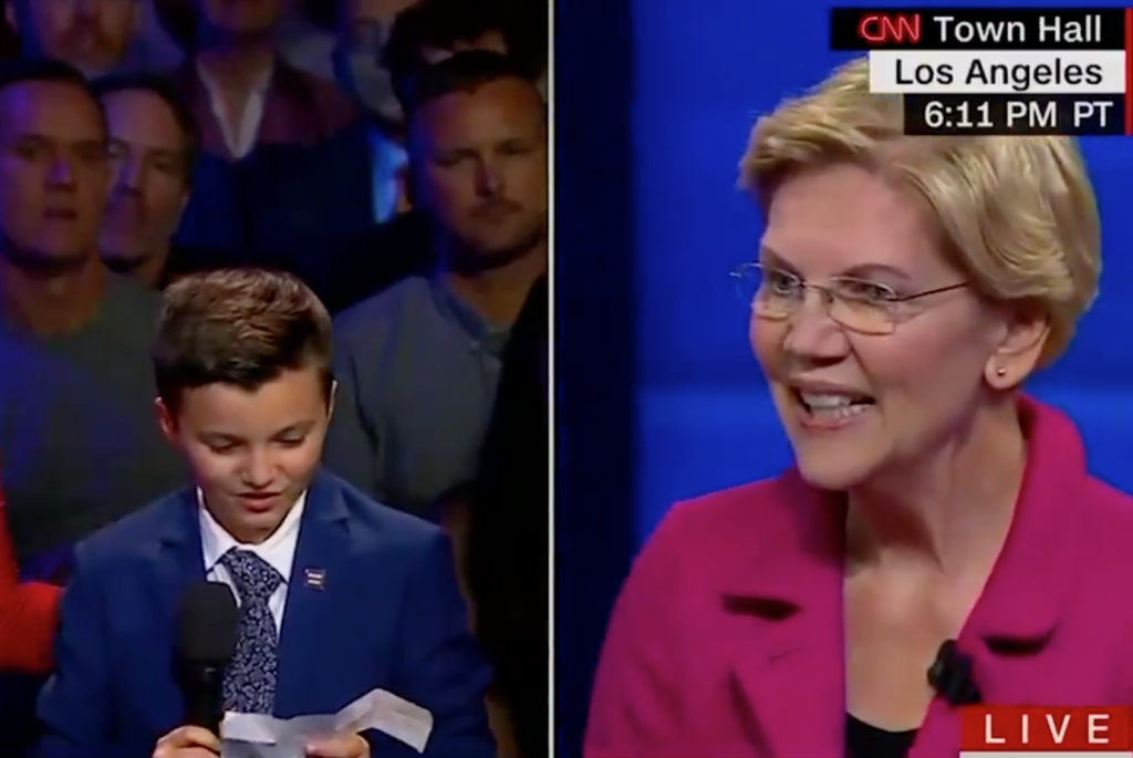 Elizabeth Warren responded to a nine-year-old trans boy's question at the CNN Equality Town Hall meeting. (Screen capture via CNN)
