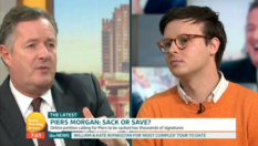 Piers Morgan (L) debated with journalist Benjamin Butterworth on whether the Good Morning Britain should should be sacked for his anti-trans comments. (Screen capture via ITV)