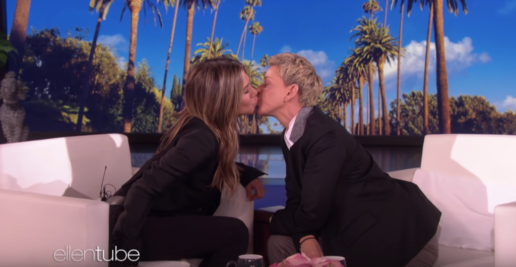 Jennifer Aniston and Ellen DeGeneres shared a sweet smooch on TV