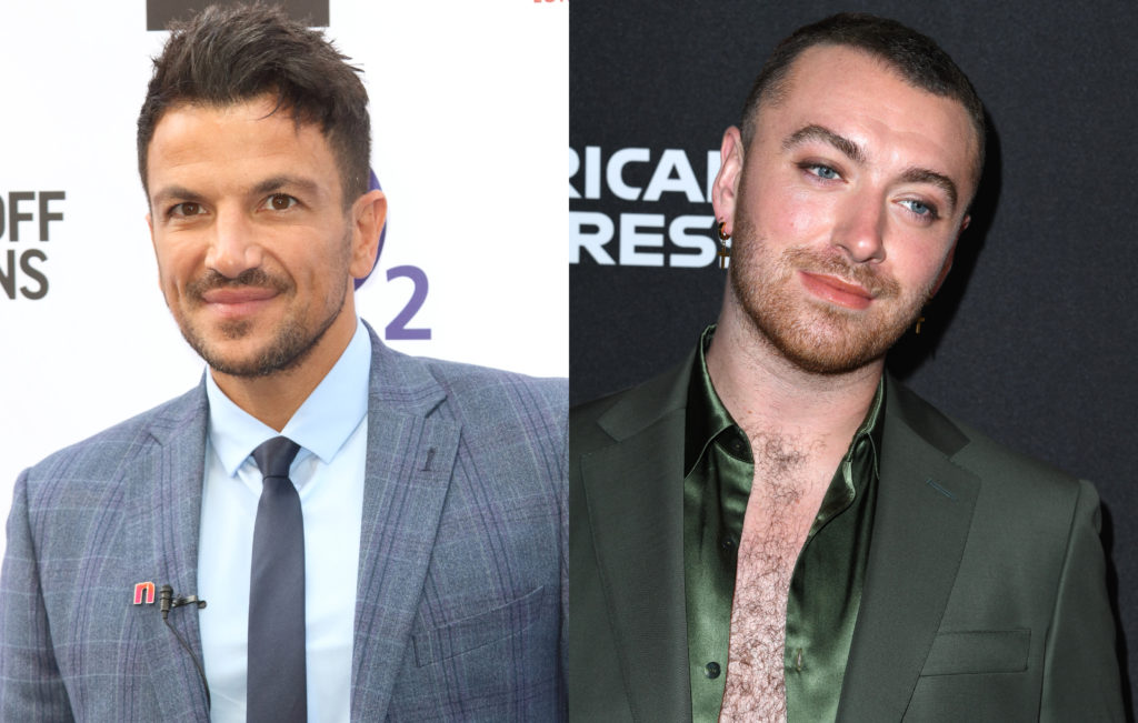 Singer Peter Andre (L) has hit out against the alleged move towards gender-neutral categories at the BRIT Awards, following Sam Smith coming out as non-binary. (Keith Mayhew/SOPA Images/LightRocket via Getty Images/Steve Granitz/WireImage