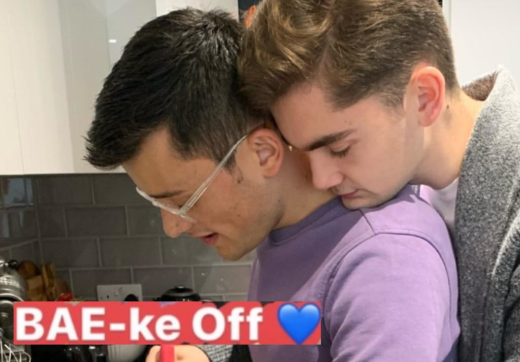 Michael Chakraverty and Henry Bird cuddling and cooking up brownies has raised the heat on Twitter. (Instagram)