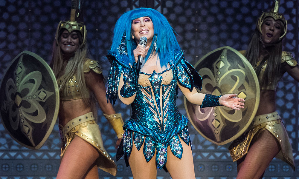 Cher performing at the O2 Arena in London. (Getty)