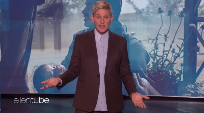 The video featured an Ellen DeGeneres monologue set against Iraq war atrocities.