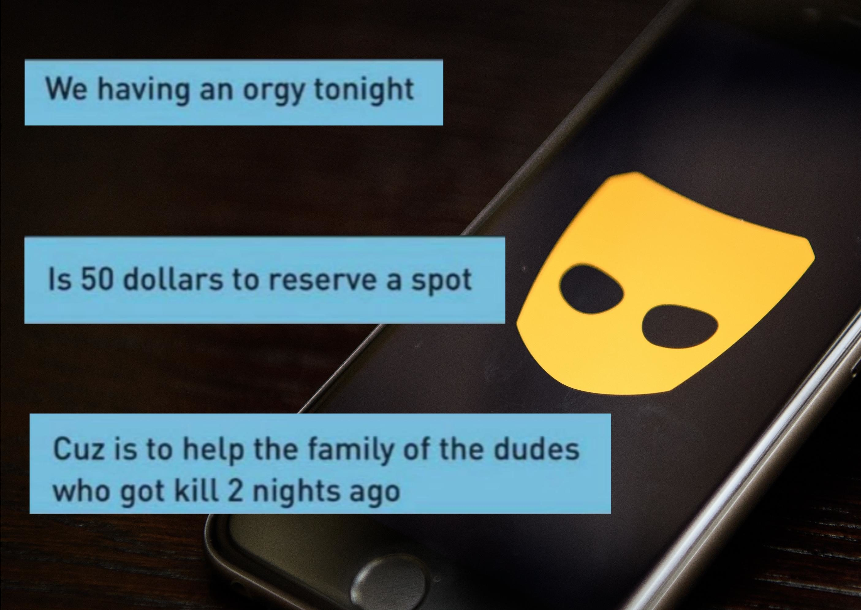 """A guy on Grindr was asked to be a part of what Twitter users have dubbed a """"charity orgy"""", and users are losing their collective minds. (Leon Neal/Getty Images/Twitter)"""