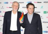 Jeremy Corbyn and Owen Jones at the 2019 PinkNews Awards