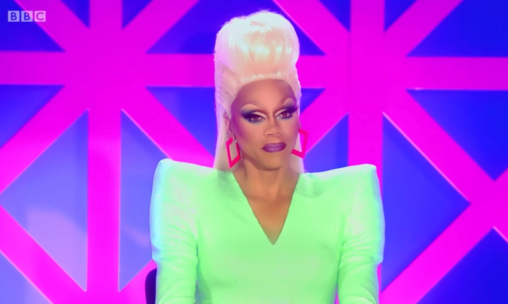 RuPaul on the Drag Race UK judging table
