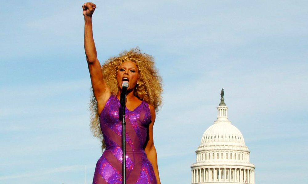 RuPaul in front of the White House