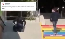 A viral video of a man opting to make his life more difficult instead of just walking up rainbow stairs has become a beautiful analogy. (Twitter)