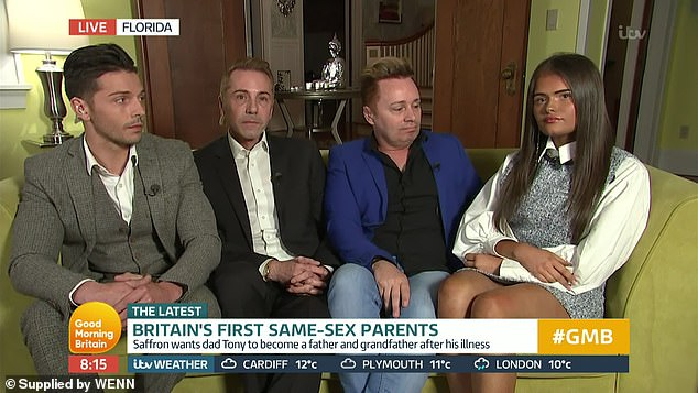 Gay dads. (From L to R): Scott, Tony, Barrie and Saffron. (Screen capture via ITV)