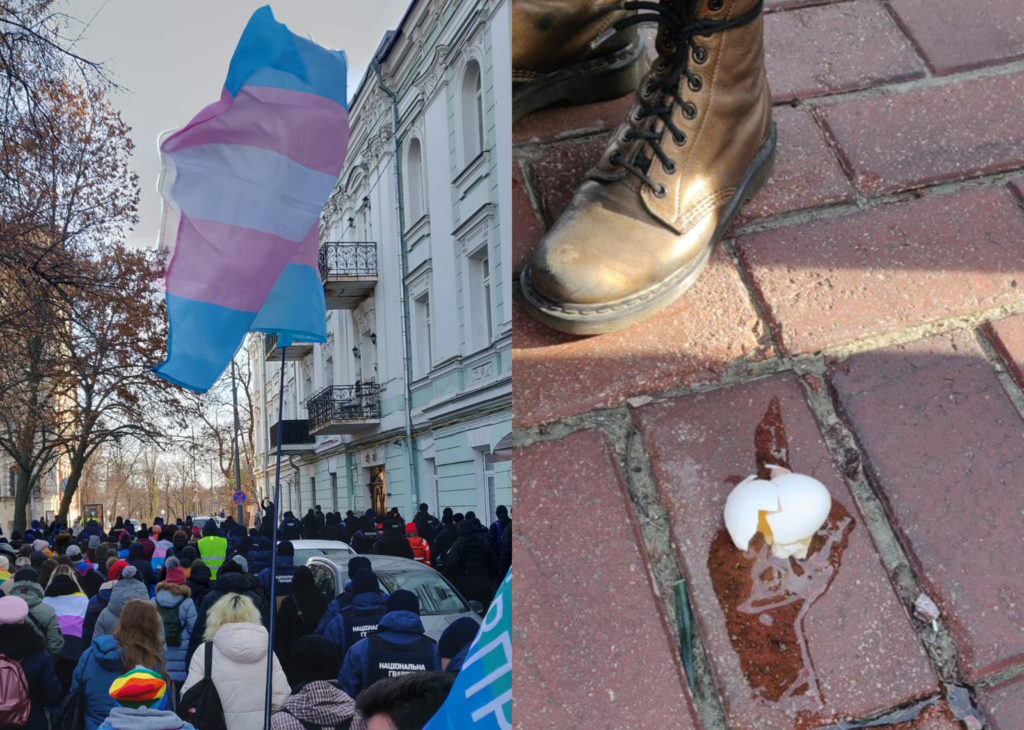 Two different scenes captures a Transgender Day of Remembrance event in Kyiv, Ukraine: (L) trans folk raise flags up high while (R) a vigil-goer stands next to an egg lobbed by counter-protester. (Matthew Schaaf)