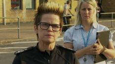 Police chief Rachel Swann (L) addresses reporters about the evacuation of Whaley Bridge in August. (Screen capture via BBC)