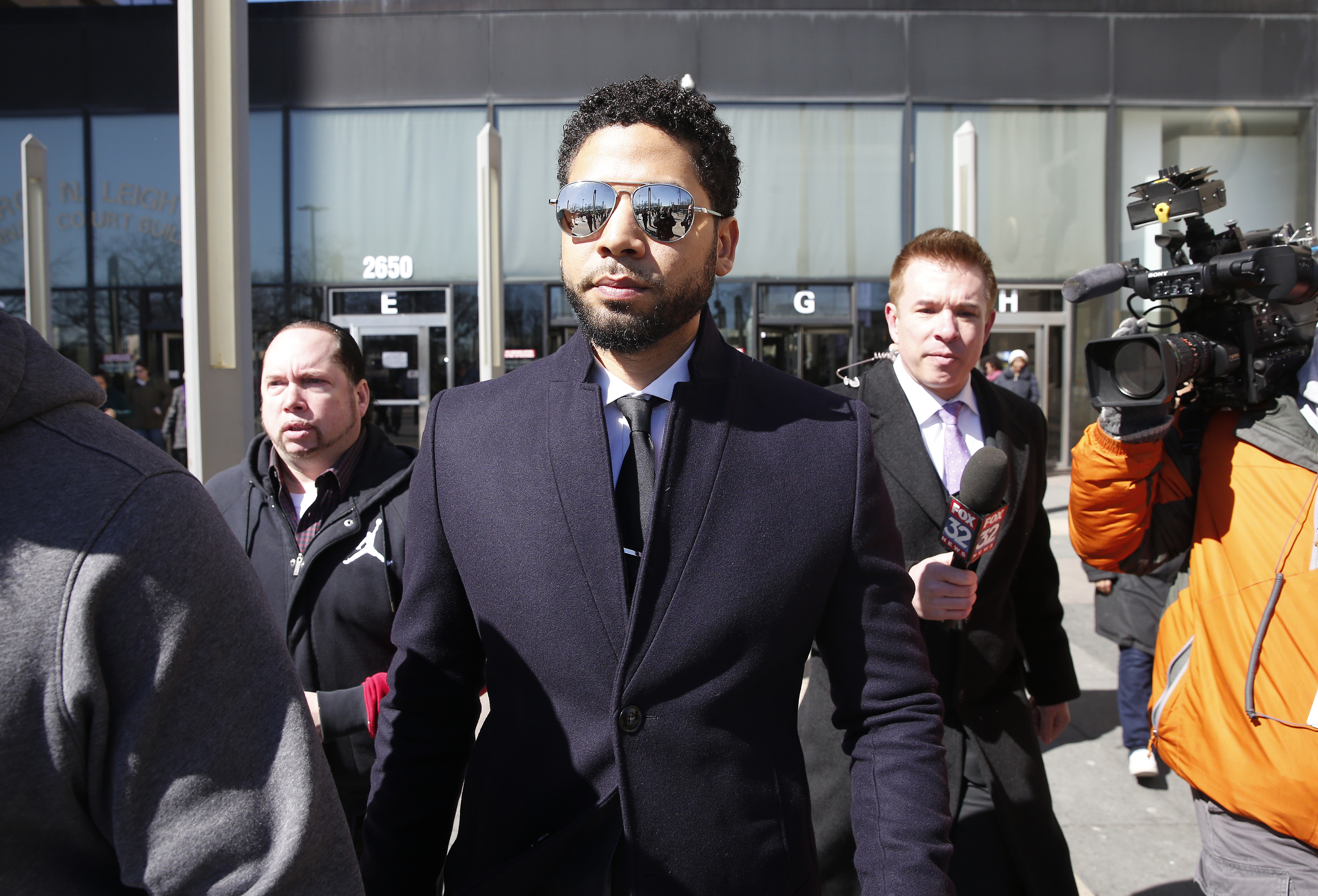 Actor Jussie Smollett leaves the Leighton Courthouse after his court appearance on March 26, 2019 in Chicago, Illinois.
