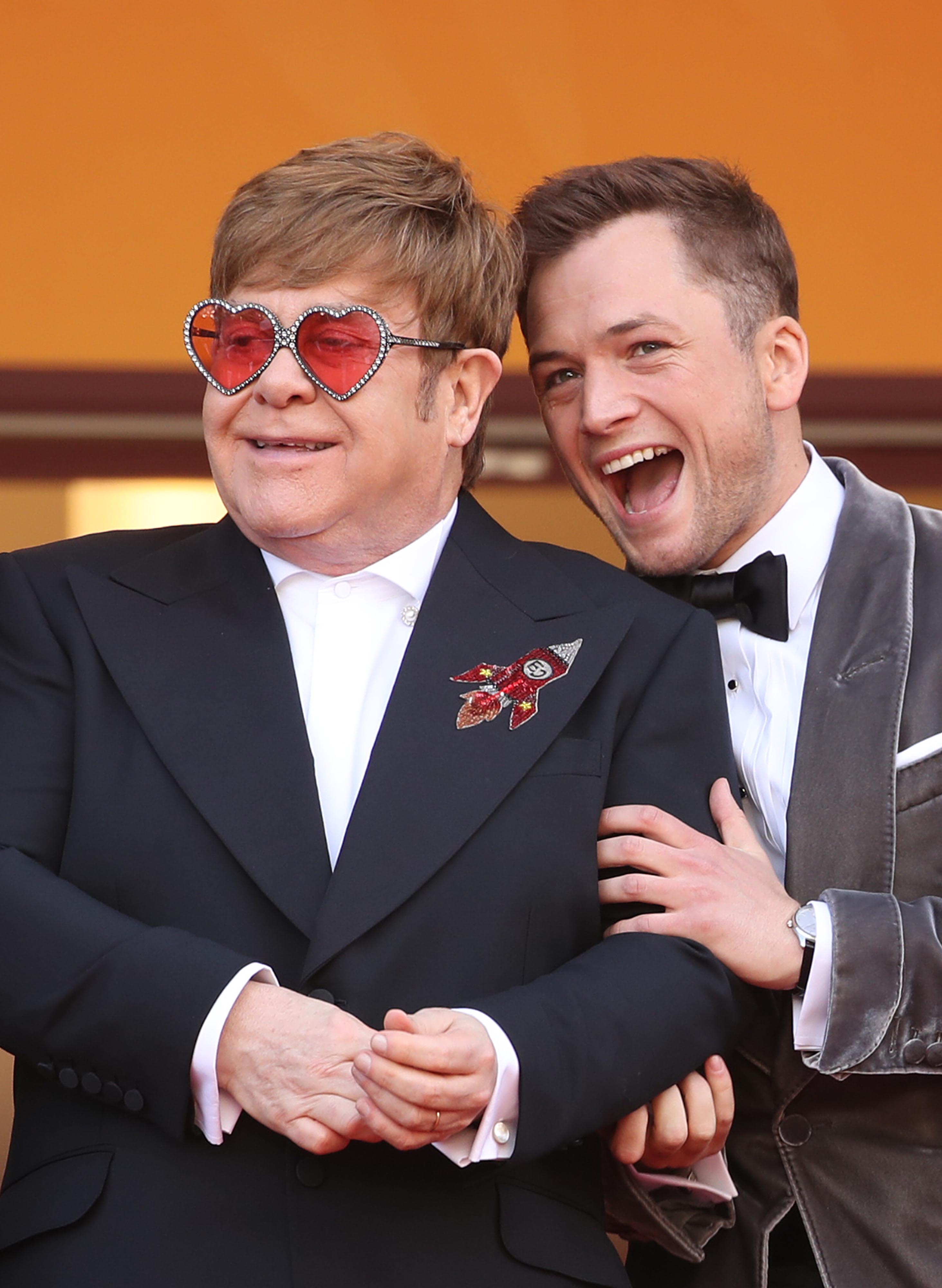 "Sir Elton John and Taron Egerton attend a screening of ""Rocketman"" during the 72nd annual Cannes Film Festival on May 16, 2019 in Cannes, France. (Mike Marsland/WireImage)"