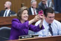Rep. Vicky Hartzler, R-Mo., takes a picture during a House Armed Services Committee markup