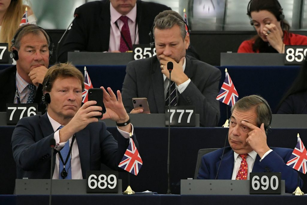 Members of Brexit Party, Rupert Lowe (776), Nathan Gill (777), Richard Tice (689) and Nigel Farage attend a debate on Brexit at the European Parliament. (FREDERICK FLORIN/AFP via Getty Images)