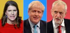 Conservative Party leader Boris Johnson (C), Labour Party leader Jeremy Corbyn (R) and Liberal Democrats leader Jo Swinson