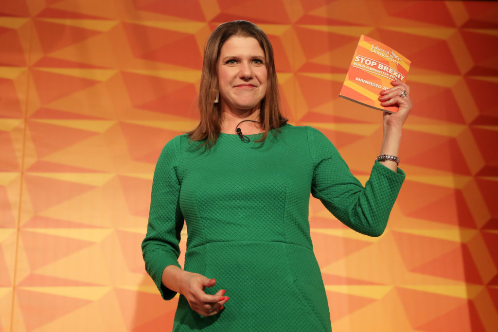 Liberal Democrats leader Jo Swinson launches the Liberal Democrat election manifesto