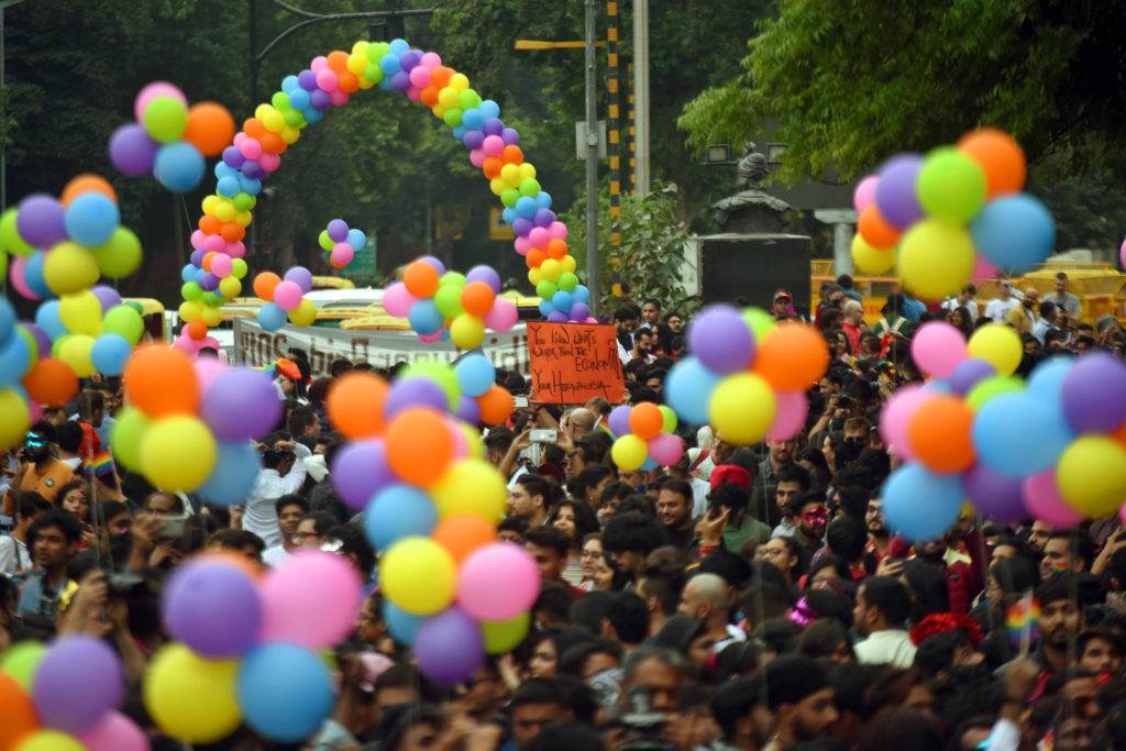 Trans activists and allies march down the streets of New Delhi. (Amal KS/Hindustan Times via Getty Images)