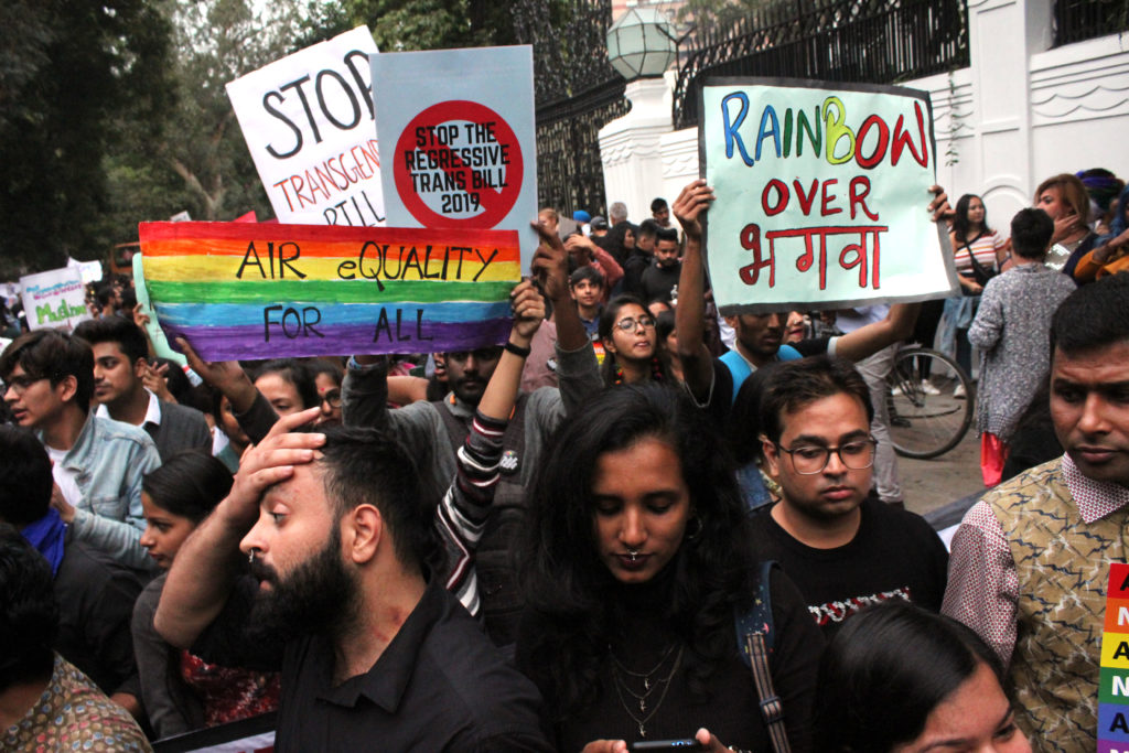 Member and supporters of the LGBT+ community take part in annual pride parade in New Delhi, India. (Mayank Makhija/NurPhoto via Getty Images)