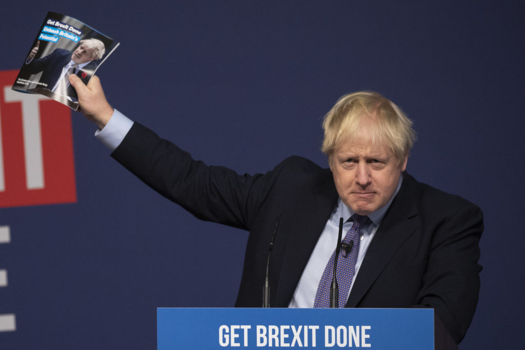 Conservative Party leader Boris Johnson delivers a speech at the launch of his party's manifesto. (Dan Kitwood/Getty Images)