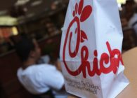 A Chick-fil-A logo is seen on a take out bag at one of its restaurants on July 28, 2012 in Bethesda, Maryland.