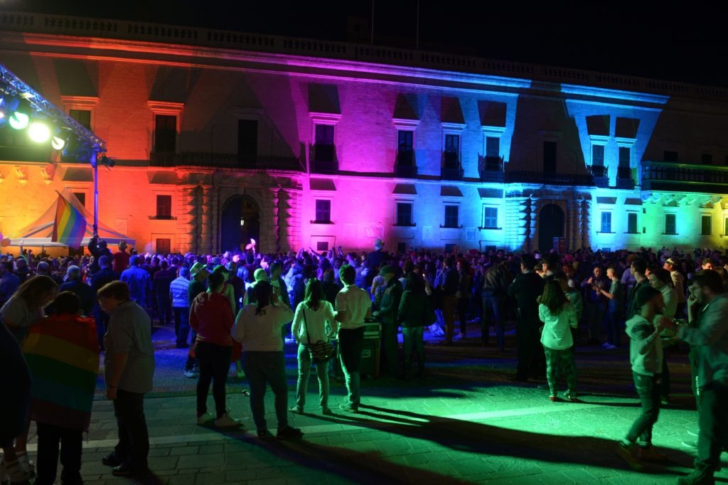 The Palace in Saint George's Square is lit with rainbow colours after the Maltese parliament approved a civil unions bill in Valletta on April 14, 2014. (Matthew Mirabelli/AFP via Getty Images)