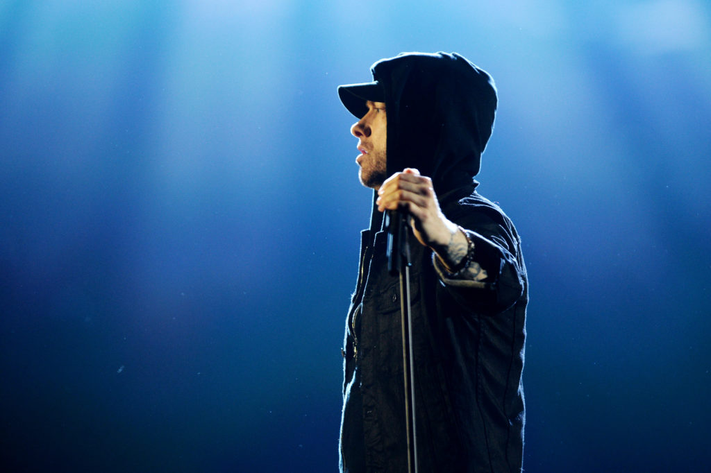 Eminem performs on stage during the MTV EMAs 2017. (Dave J Hogan/Getty Images for MTV)