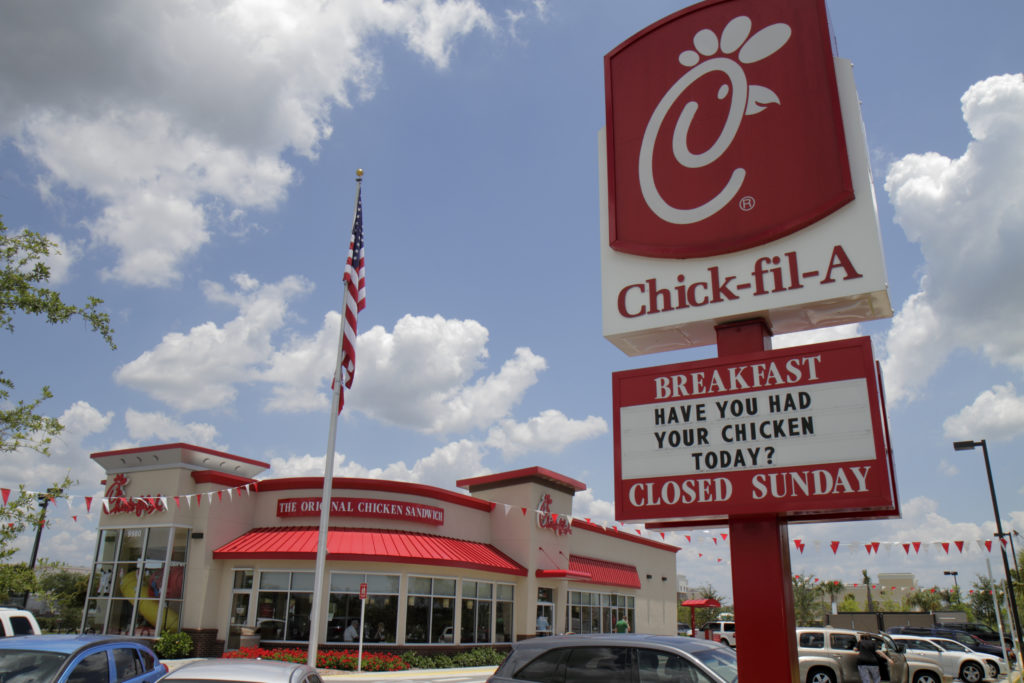 Chick-fil-A sign in Naples, Florida