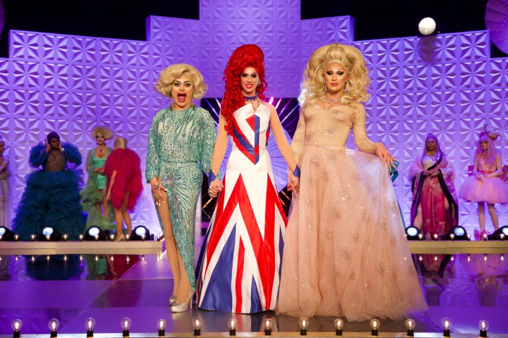 Baga Chipz, Divina De Campo and The Vivienne during the final of Drag Race UK