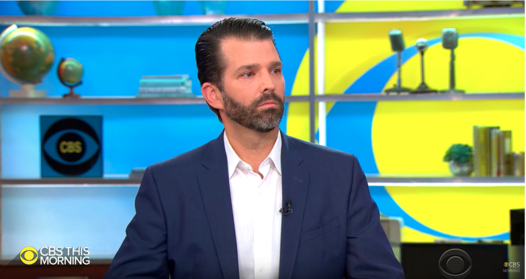 Donald Trump Jr appeared on CBS This Morning to promote his new book. (Screen capture via YouTube)