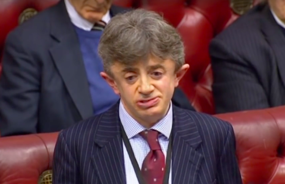 Lord Shinkwin delivering a speech at the House of Lords. (Screen capture via YouTube)